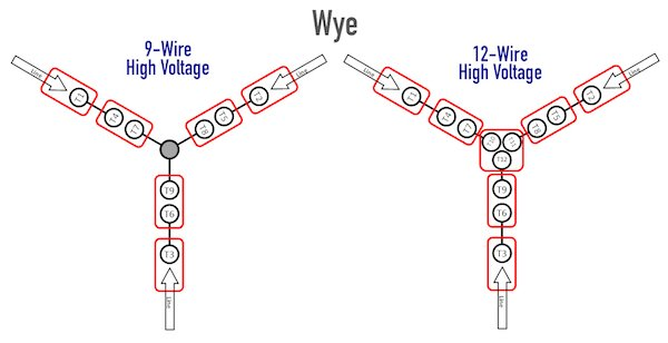 comparing 9 wire and 12 wire wye high voltage