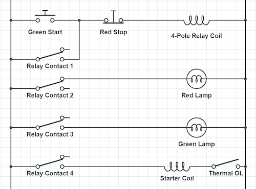 Indicator lights can show whether the coil is energized or not. These might be stack lights rather than illuminated buttons.