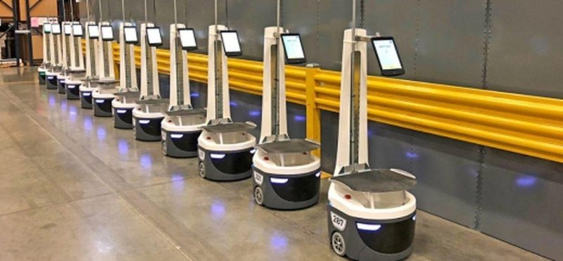 DHL robots in warehouse