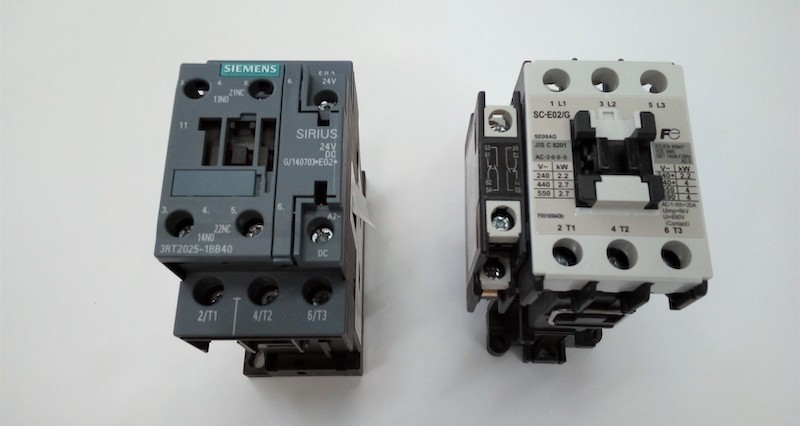 An example of two different motor contactors which provide DOL starting methods.