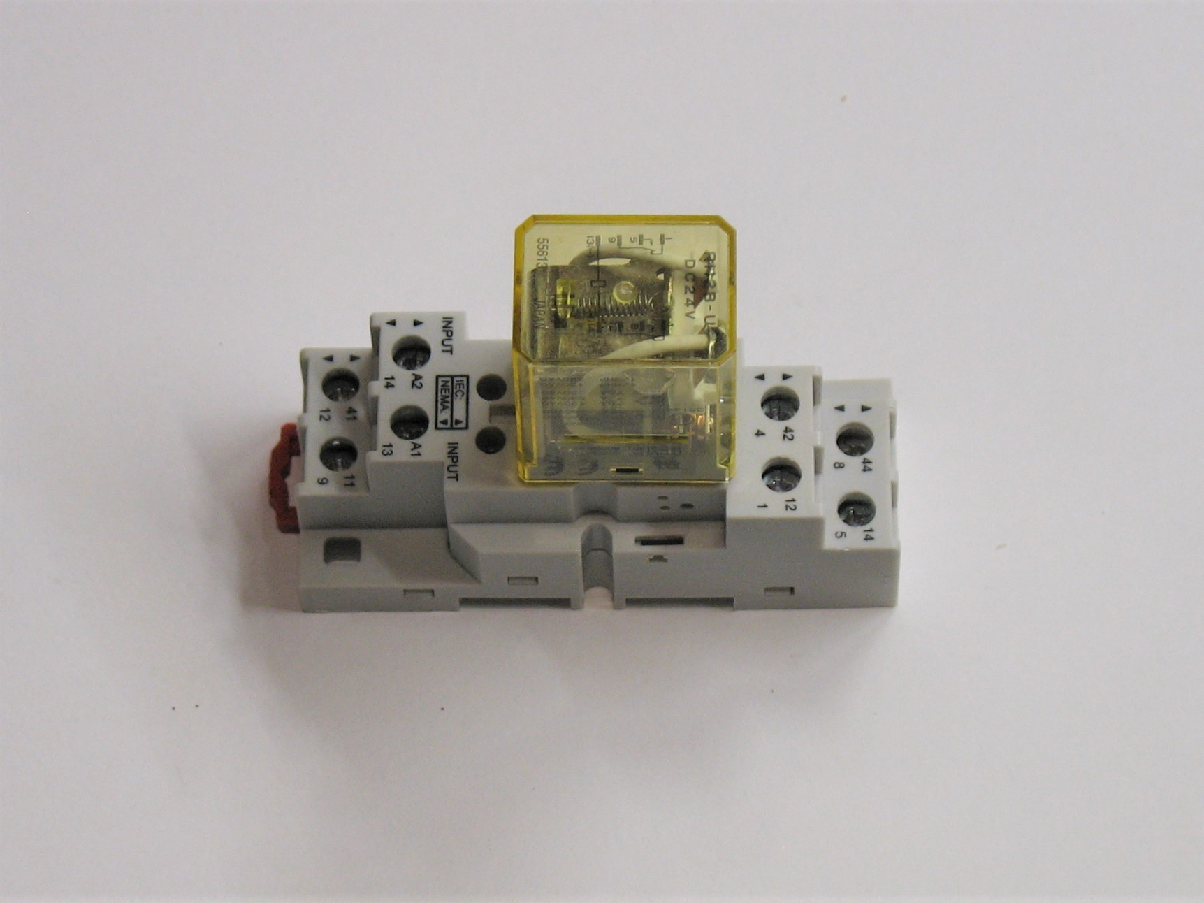 a dpdt relay set in a DIN Rail mounting socket