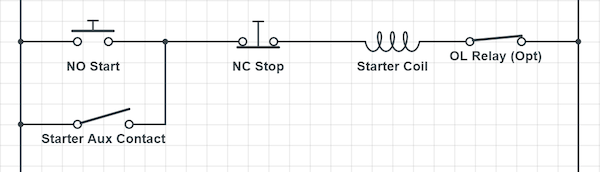 The schematic of a simple starting circuit providing on/off control.