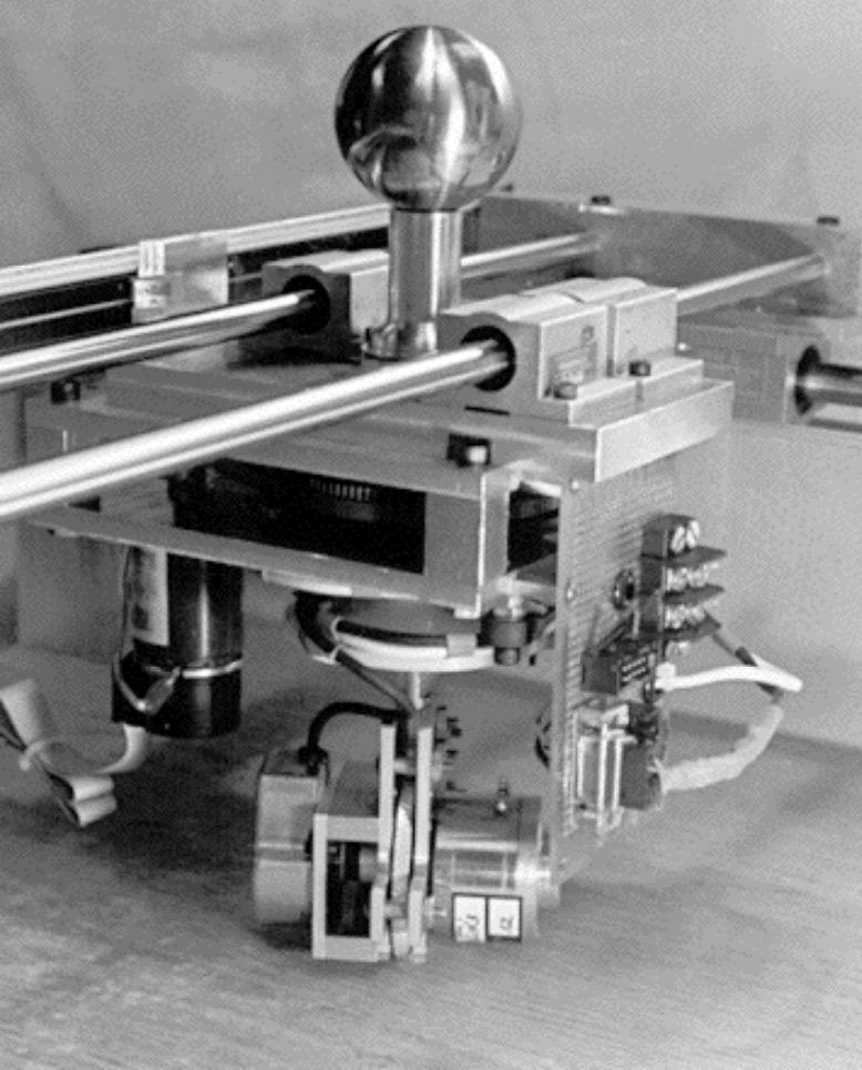 Unicycle cobot prototype developed by Colgate, Wannasuphoprasit, and Peshkin