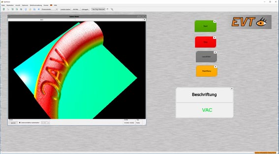 EyeVision 3D software interface