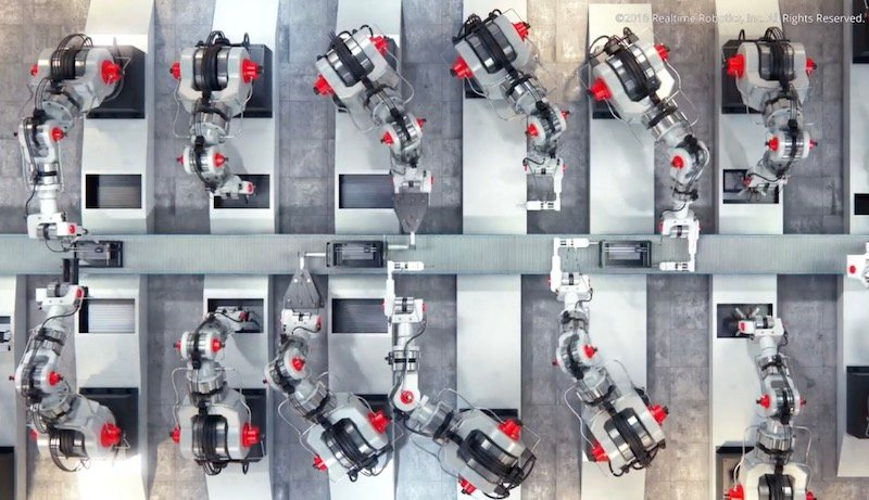 Industrial robotics on a production line