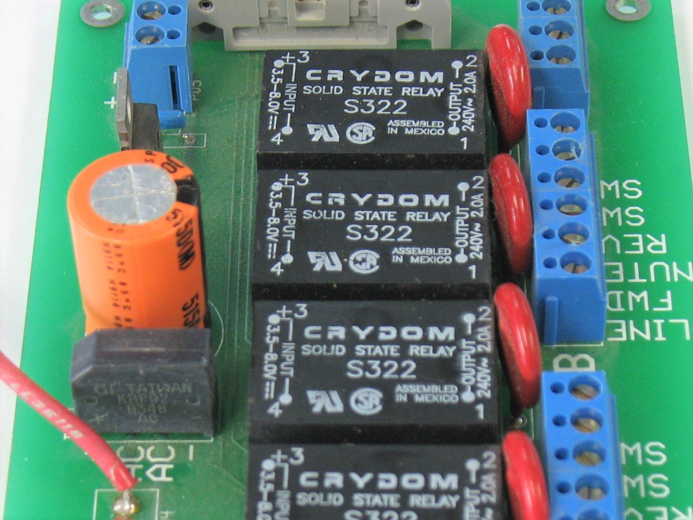 a set of PCB mount solid state relays on a power supply