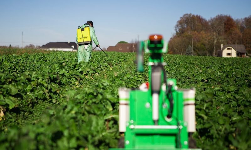 Robot being used in the field at an agricultural facility.