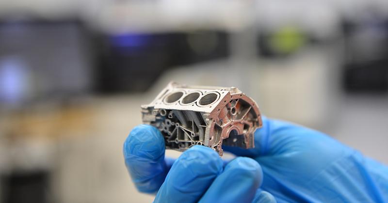 tiny 3d printed 6061 aluminum engine block