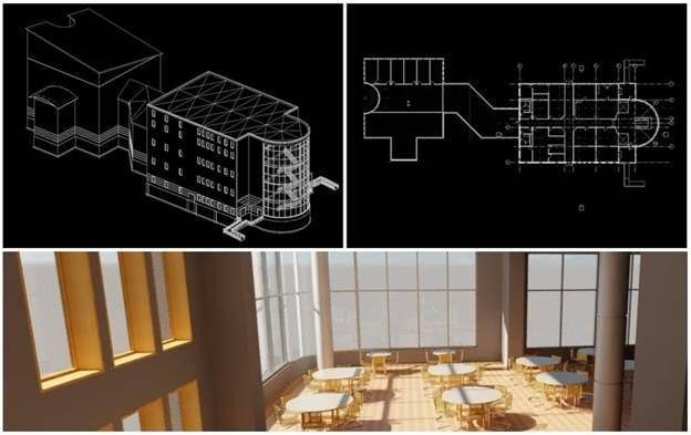 3D Revit model vs 2D AutoCAD model vd Revit rendering