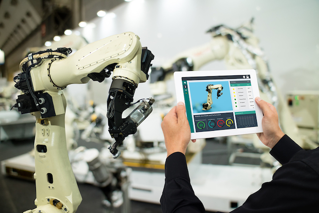 Engineer using Industrial application wireless