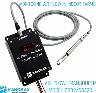 Kanomax airflow transducer monitoring airflow in indoor farms