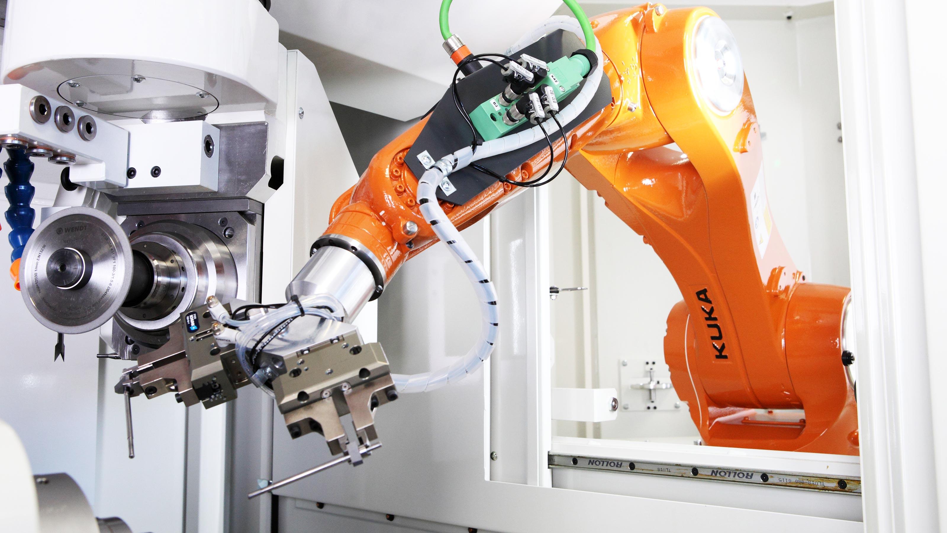 Kuka robot working on floor
